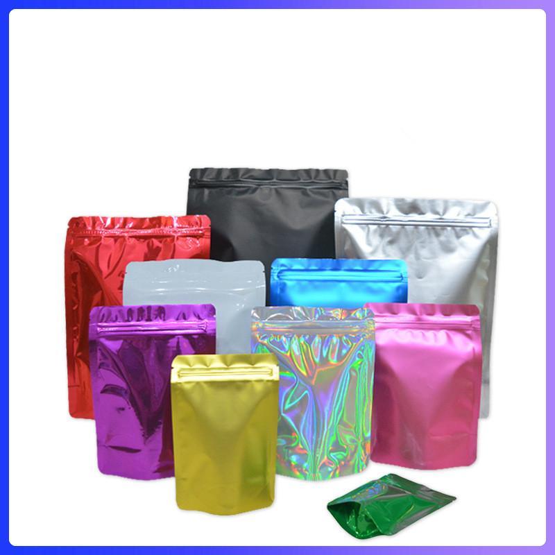 FedEx 10 Farben Resealable Mylar Taschen Up Stand Riechen Proof Taschen 2 Seiten farbige Nahrungsmittelspeicher Kunststoff Verpackungsbeutel