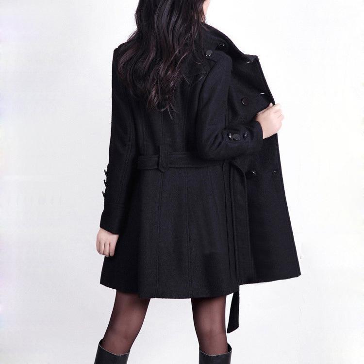 Casual casaco de lã mistura Atacado-Abotoamento casaco de lã e uma jaqueta Mulheres Slim Coats Outono Inverno