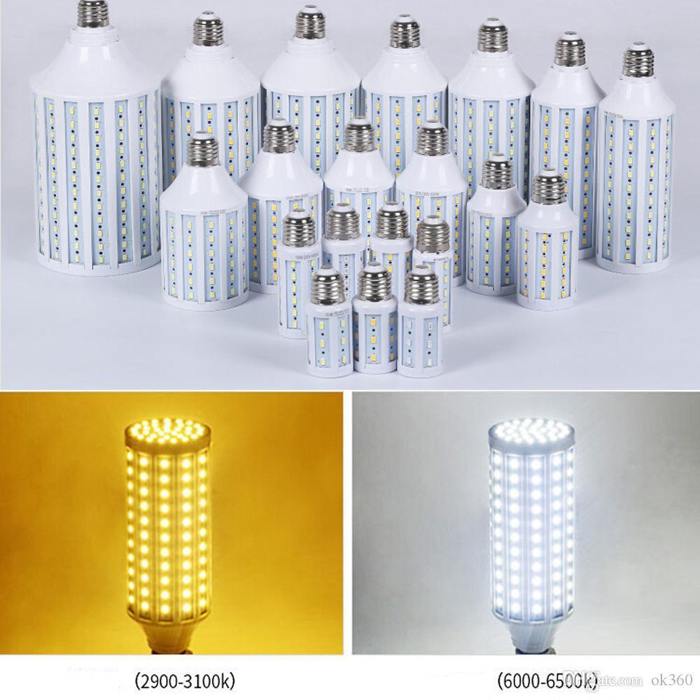 Super brillante de maíz luces 15W 25W 30W 40W 50W 60W 80W llevó las luces de la lámpara de los bulbos E27 B22 E40 LED SMD 5730 360 Ángulo CA 110-240V