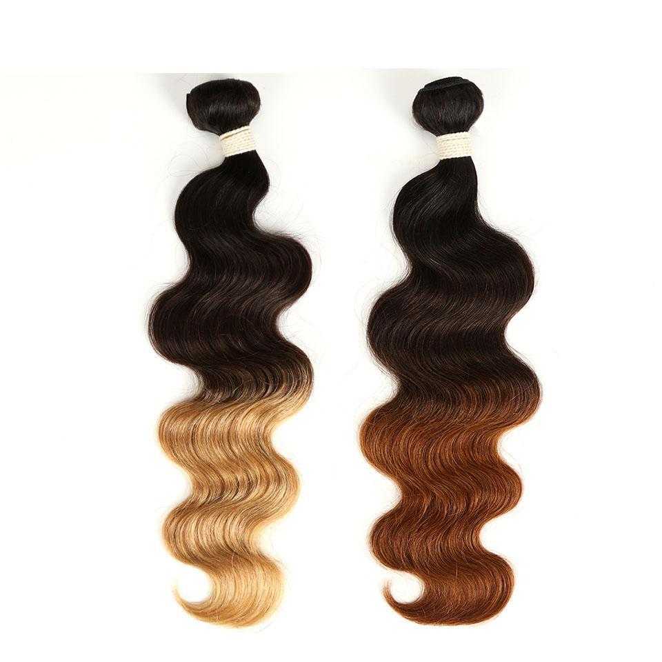 Ombre Indien humide et Cheveux ondulés vague de corps 3 / 4Pcs Corps indien vague cheveux Weave Bundles T1B / 4/27 30 Hair Extensions