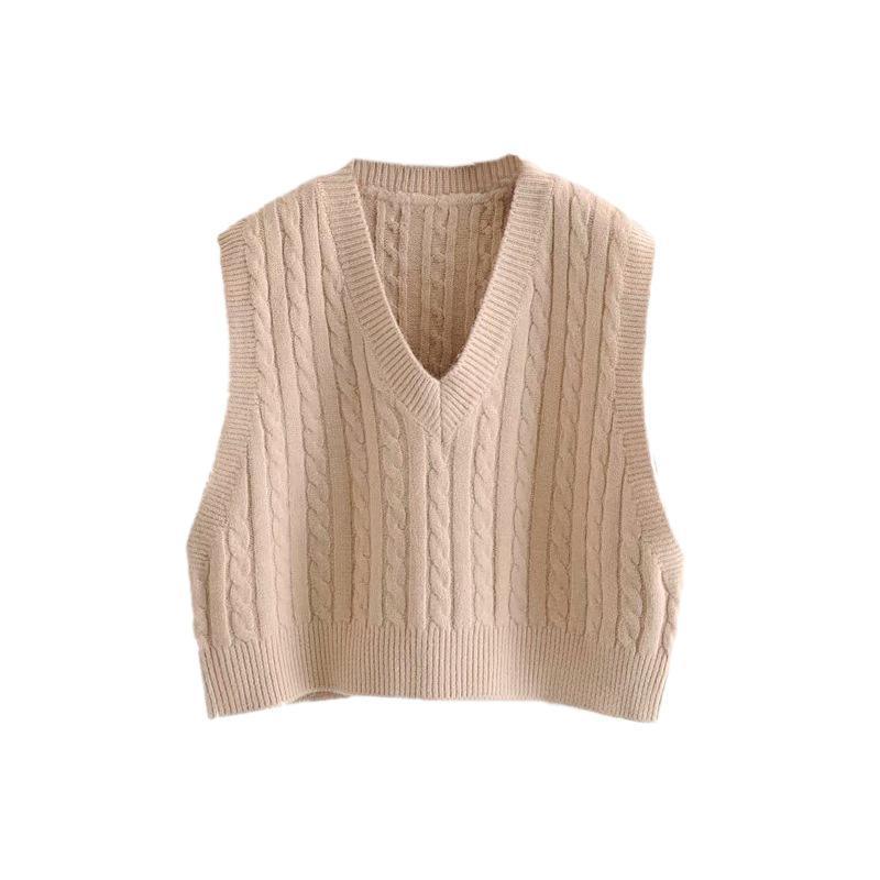 Los estudiantes sin mangas ropa de invierno de las mujeres del chaleco del chaleco de alta cintura de la torcedura V-cuello del chaleco de Navidad suéter corto casual encogimiento de hombros