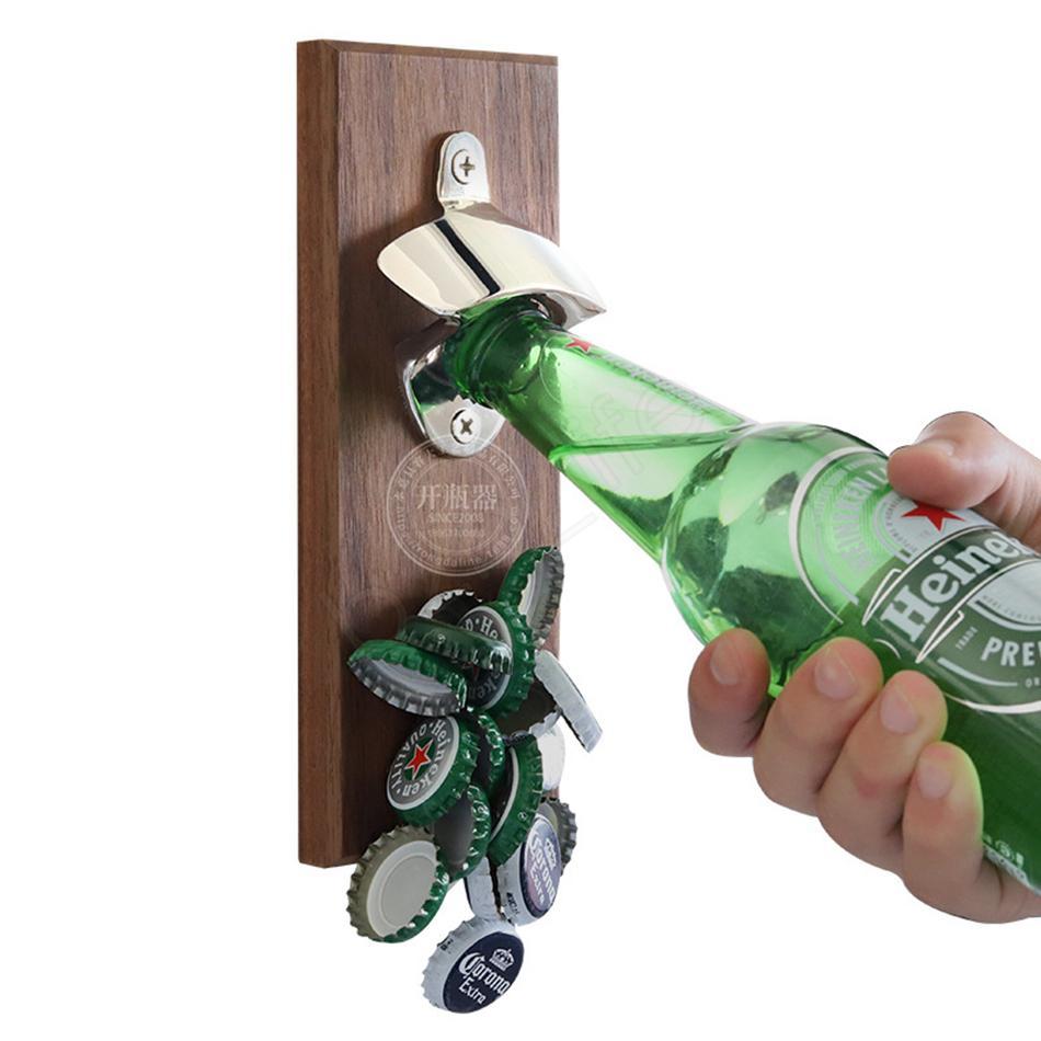 المغناطيسية البيرة التلقائي فتاحة زجاجات فتاحة كاب الإبداعية الخشب نوع شخصية المغناطيسي كاب الصيد الرئيسية المطبخ بار أدوات LJJA3777