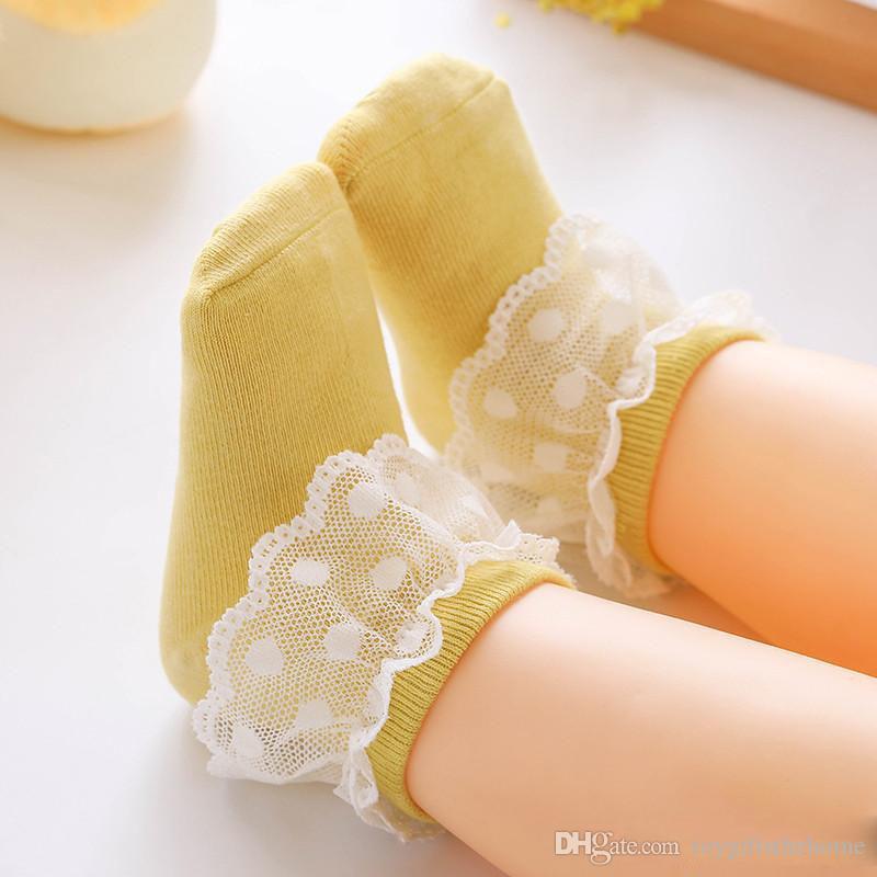 Frühlings-Herbst-Säuglings-Baby-Socken Kinder Baumwoll-Strick Lacework-Mädchen-Prinzessin Socken süße Spitze Kinder Socken
