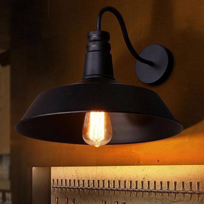 AC110-230V الكلاسيكية D26cm خمر الصناعية معقوفة ستريت مصابيح أسود أبيض ضوء مطبخ مطعم الجدار الحديثة الشمعدانات arandela الأسود
