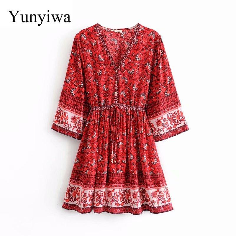Donna V Neck posizione fiore Vestiti stampa casuale vestito dal kimono signore manicotto dei tre quarti elastico in vita Beach Abiti