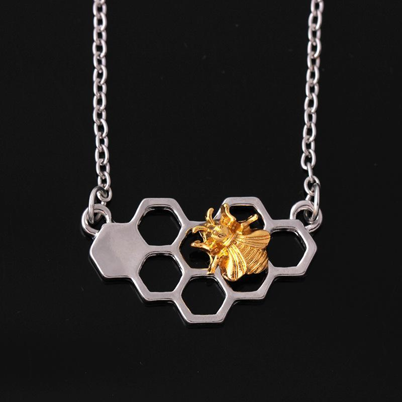 Charm Necklace Silver Plated Chain Choker Necklaces Jewelry Party Prom Gift Girl Heart Honeycomb Bee Animal Pendant Necklace