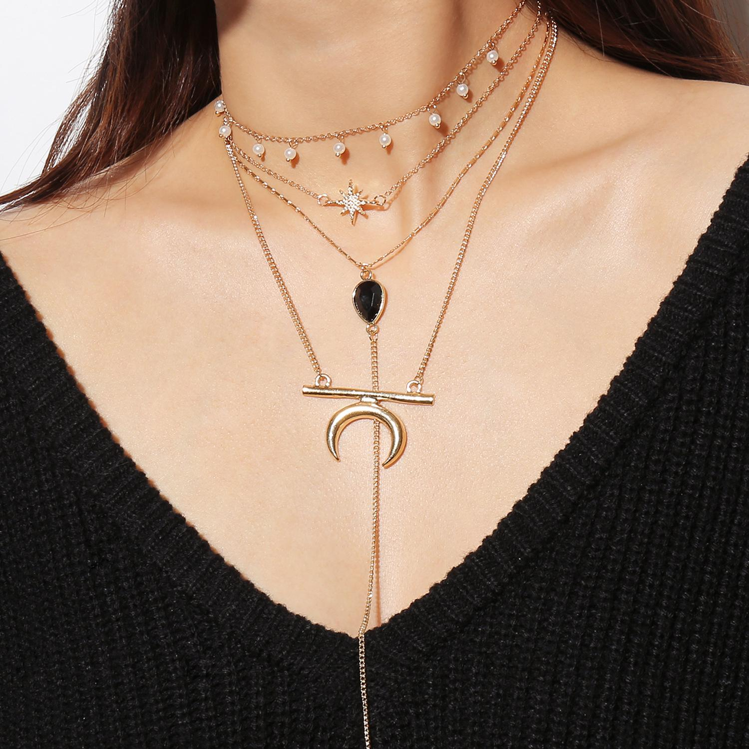 Fashion Necklaces for Women 2019 Statement Layered Necklace Water Droplets Pendant Crystal Necklace Gold Chain Choker