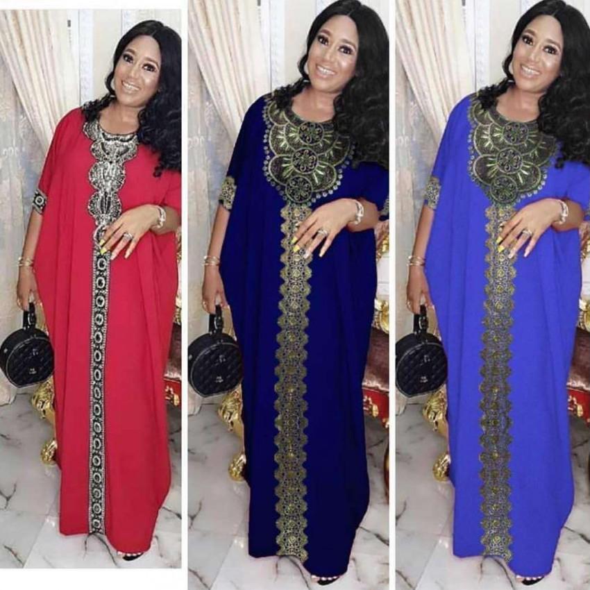 Vestidos africanos Para As Mulheres África Roupas AFrican Design Bazin Chiffon Longo Vara Diamante SLeeve Dashiki Vestido Senhora