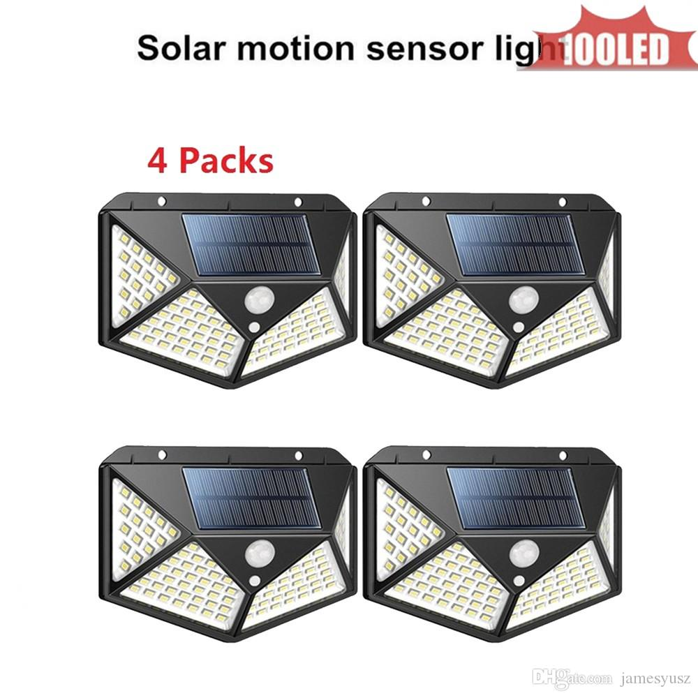 LED Solar lamp Street light PIR Motion Sensor Outdoor Waterproof For Garden Path Driveway Emergency Security night light 4 sided 270