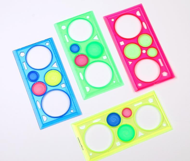 Herramientas de dibujo geométrico Regla de impresos para estudiantes conjunto de dibujos Arte Aprendizaje Sets regalo creativo para los niños SN1287