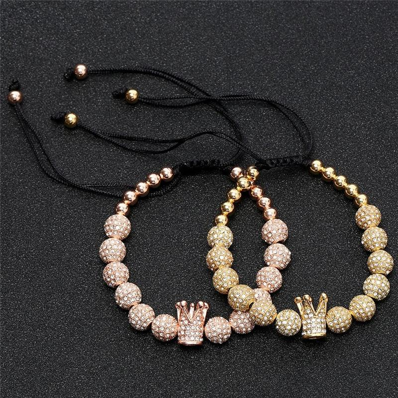 Crown Woven Bracelet 8m m Cubic Zirconia Ball BraceletsCopper and Diamonds DIY Bracelet for Woman Man Jewelry