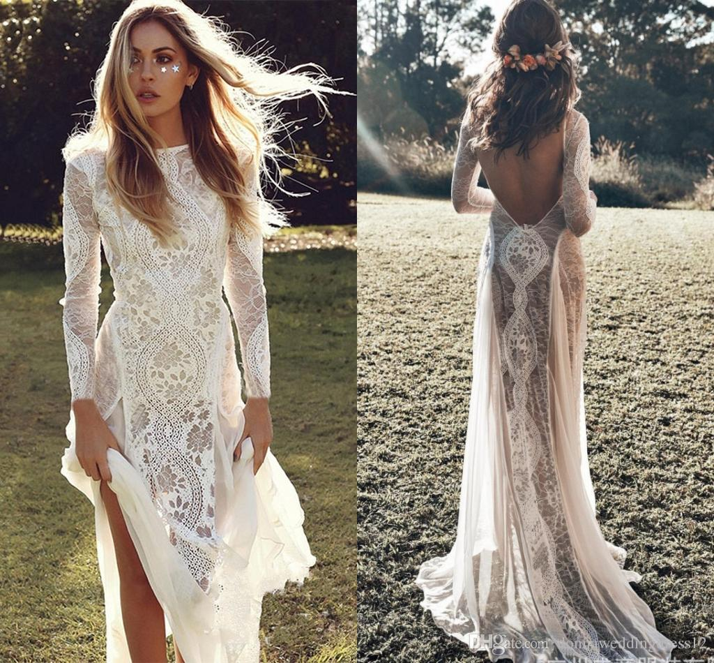 New Exquisite Lace Long Sleeve Backless Wedding Dress 2019 Boho Chic Wedding Dresses Bridal Gowns robe de mariage