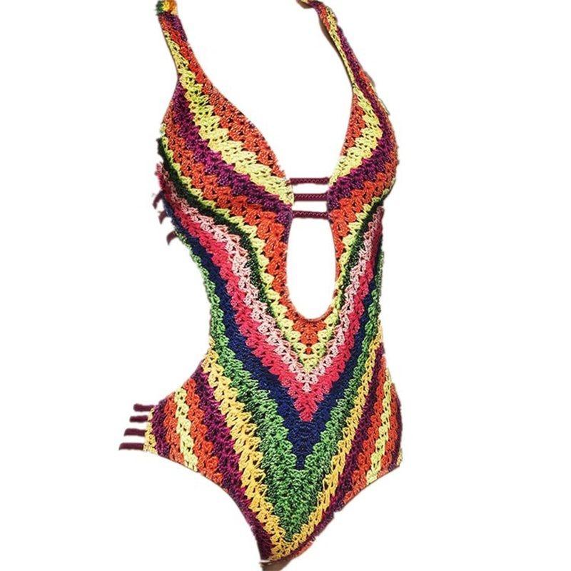 Traje de baño sin espalda Bikini atractivo Las mujeres del arco iris se unieron a la ropa de baño Impresión digital Patrón de flores rotas Alta elasticidad Moda 22xm C1