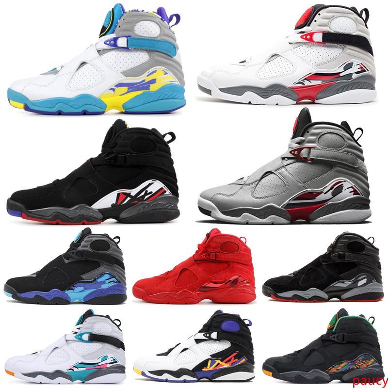 8 8s Hommes Basketball Chaussures South Beach 3M Bugs Reflective lapin Saint-Valentin RAID Aqua 3PEAT ÉLIMINATOIRES Formateurs Hommes Sport Sneaker 7-13