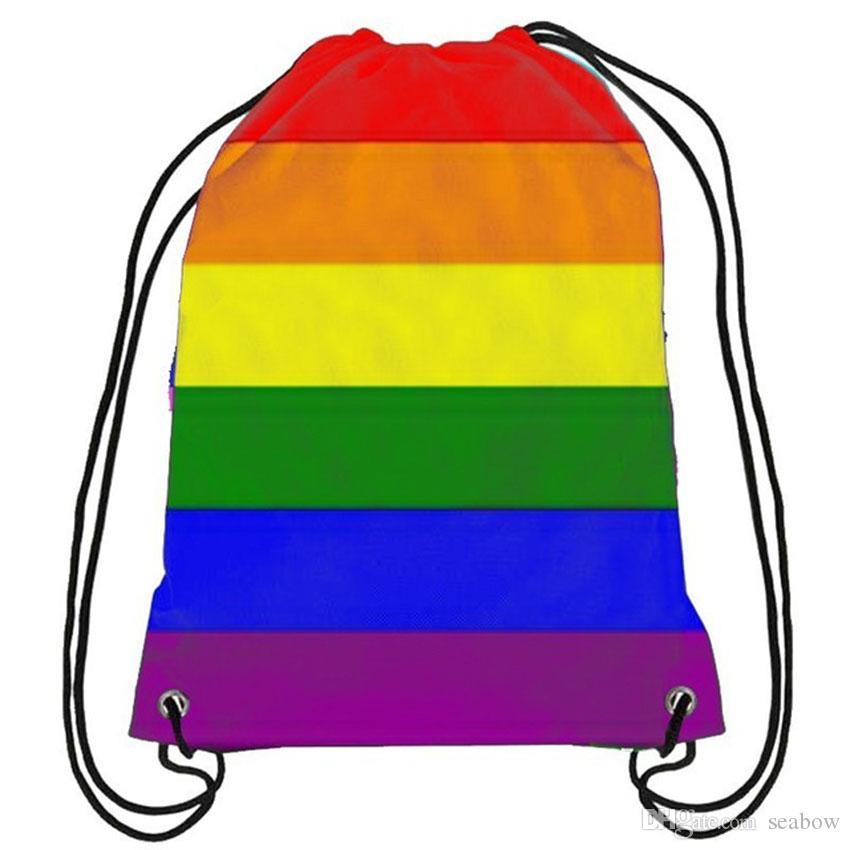 Regenbogen-Rucksack-Stolz Homosexuell Rosa LGBT-Tasche Sport-Geschenk Fertigen 35x45cm Polyester Digital Printing für Wandern Strand Frauen Kinder Tra