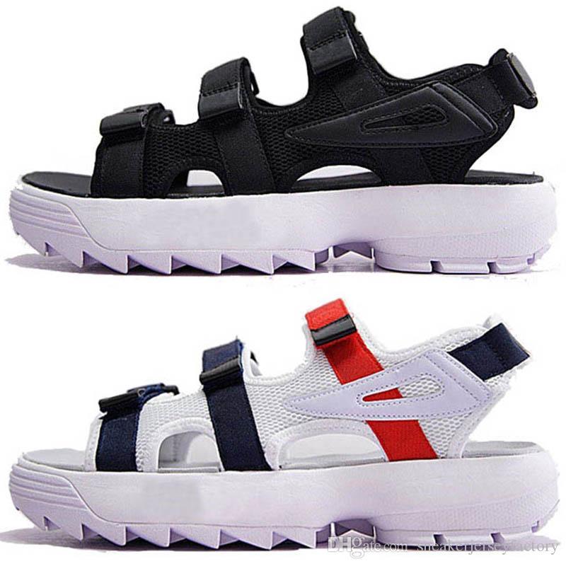 FILA Lujo Original hombres, mujeres, zapatos de playa, sandalias de verano, blanco, rojo, antideslizante, zapatillas de secado al aire libre, zapatillas de agua suave 36-44