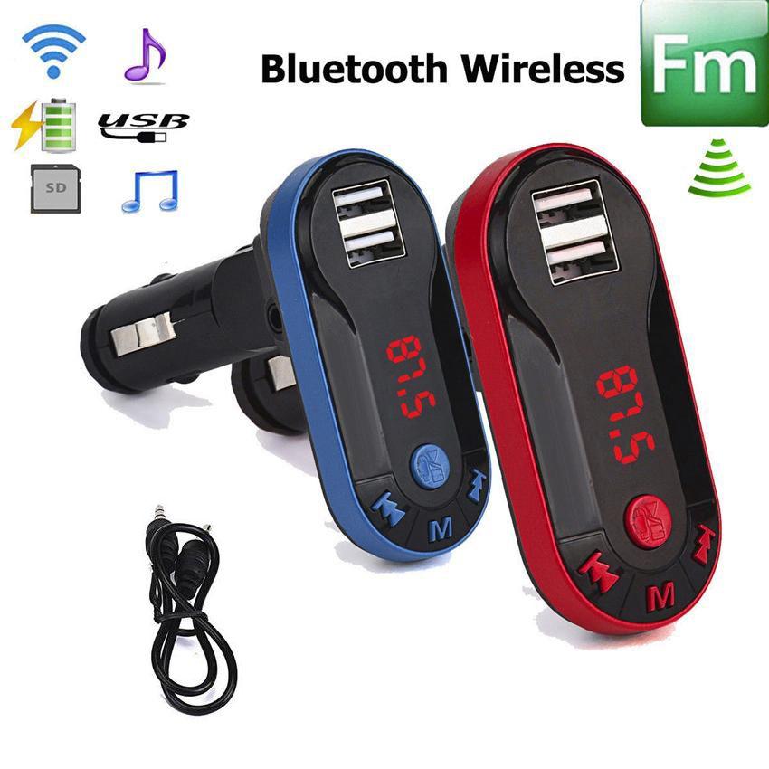 블루투스 차량용 키트 FM 송신기 핸즈프리 FM 라디오 어댑터와 USB 출력 차량용 충전기 TF SD 리모컨