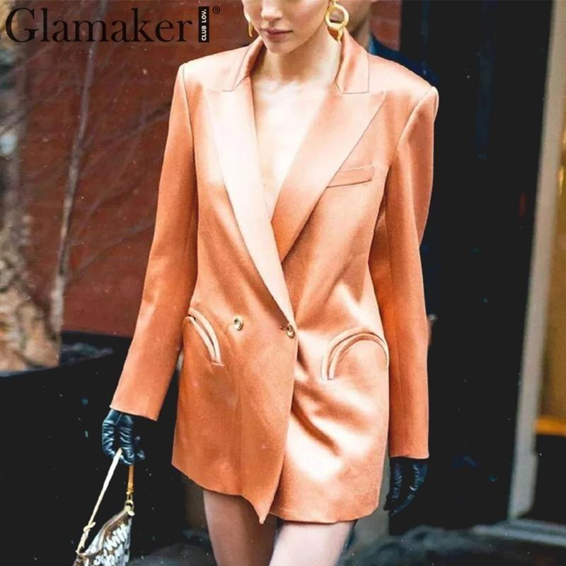 Glamaker V neck long sleeve ladies blazer Women blazers and jacket spring summer elegant party club sexy office jacket blazer SH190930