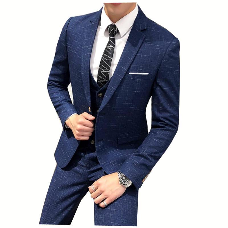 Trois pièces pour hommes formelles de costume de marié Ensembles d'affaires pour Robe de mariée Plaid Fashion Boutique Costumes (veste + veste + pantalon)