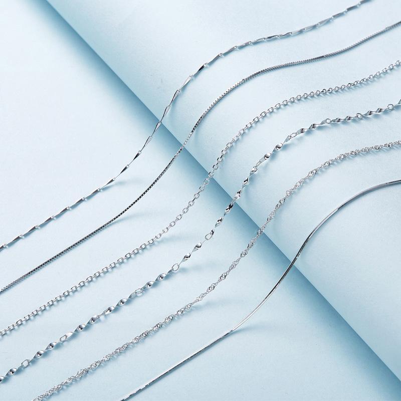 سيدل S925 الفضة قلادة مربع البطيخ بذور المعلقة سلسلة بالجملة للرجال والنساء مجوهرات مصنعين