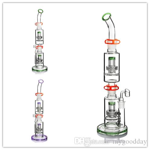 JM FLOW enorme vaso Dab Rig Bong agua tubería de grandes gruesas bongs tubo de dos panal matriz perc aceite de cera Plataformas embriagadora fumar burbujeador