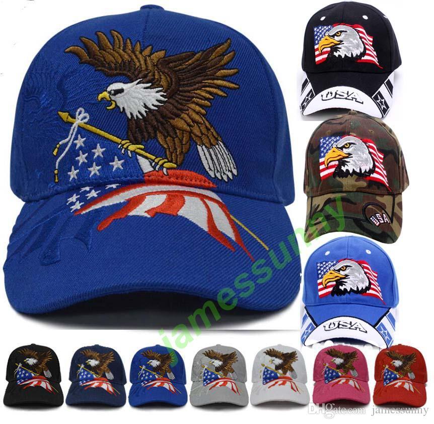 9 styles drapeau américain aigle soleil Chapeaux Donald Trump Republican Snapback Sports Chapeaux Casquettes de baseball USA Drapeau Adultes Hommes Femmes Chapeaux Sport