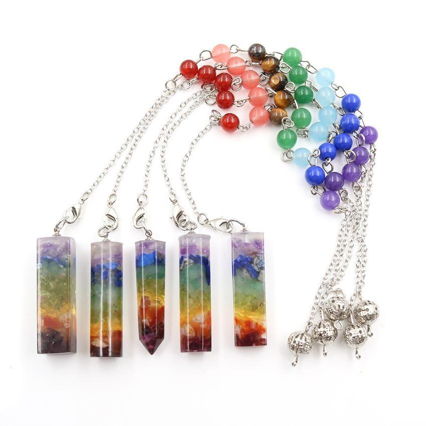 Wholesale 10 pcs Silver Plated Many Style Colorful Stone and Resin Pendant with Round Beads Chain Healing Chakra Jewelry