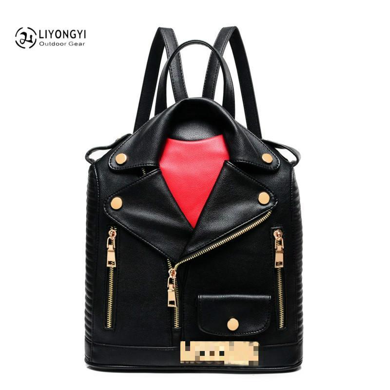 Unique Clothes Design Women Leather BackpackS Female Travel Shoulder Women School Bag sac a main femme de marque luxe cuir 2018