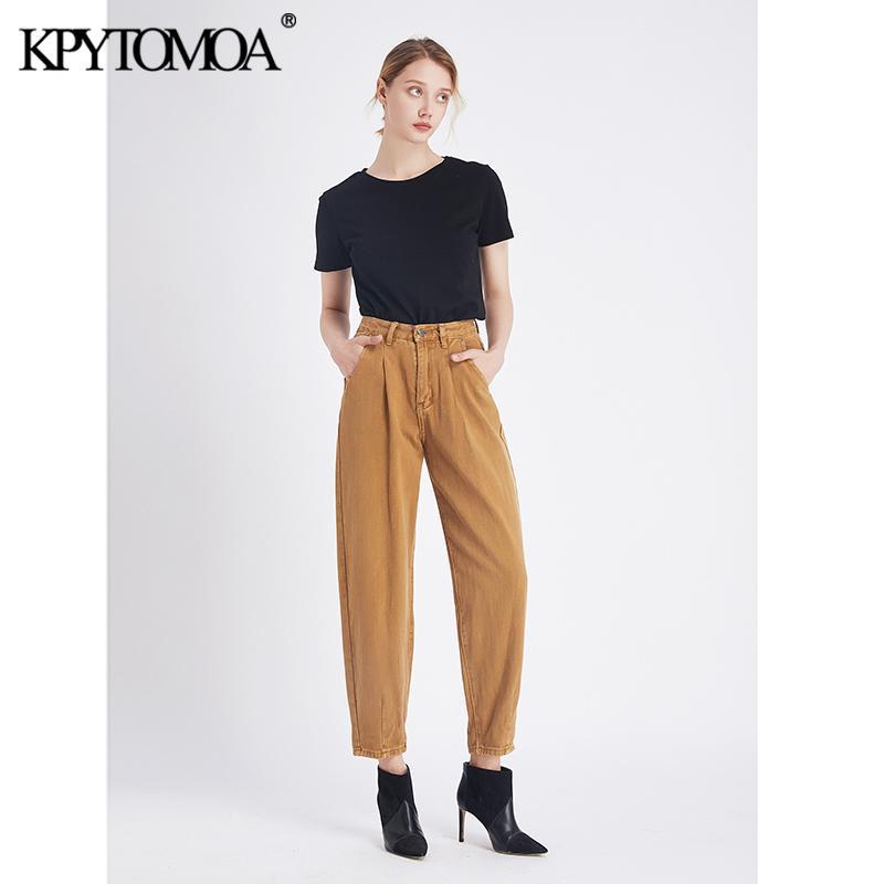 Vintage élégant taille haute Sarouel Washed effet Jeans pour femmes 2020 poches mode Braguette à glissière avec Darts cheville Pantalon Jean T200103