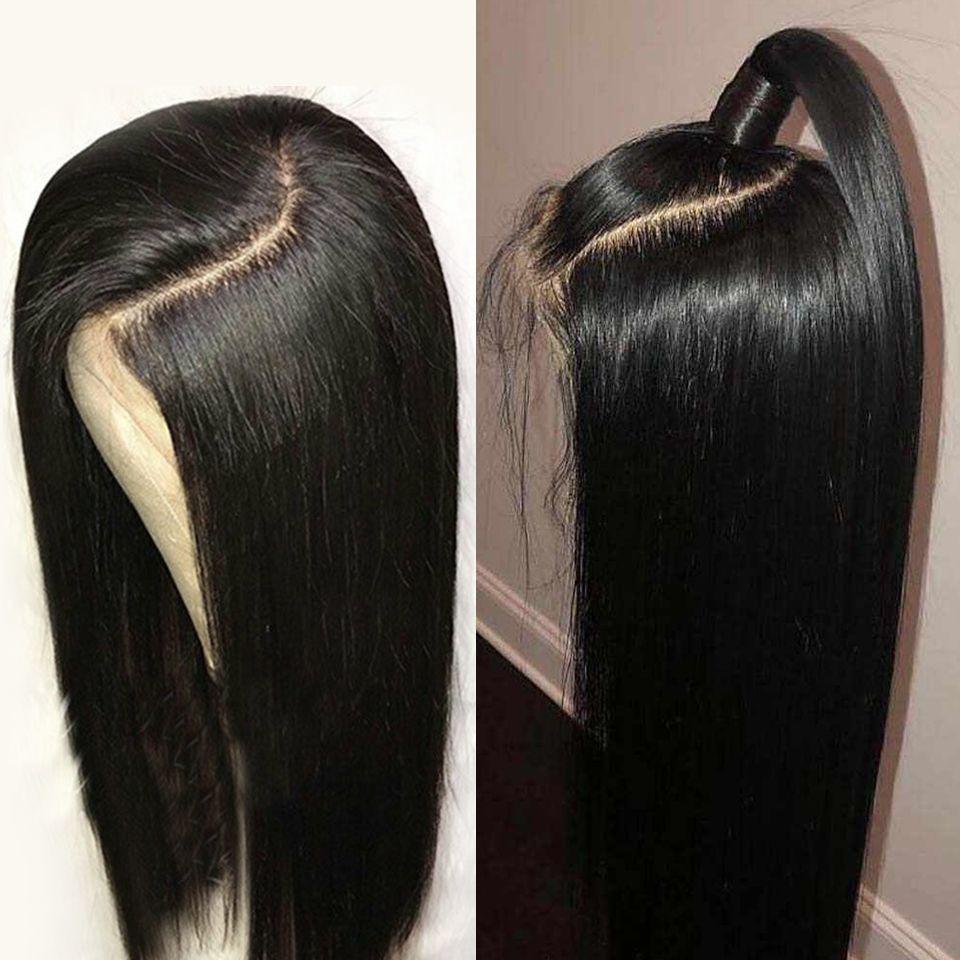 10A kalite simülasyon Brezilyalı saç Dantel Açık Peruk siyah wome için Düz Ön Mızraplı Satine Bebek Saç uzun 13x4 sentetik dantel Peruk