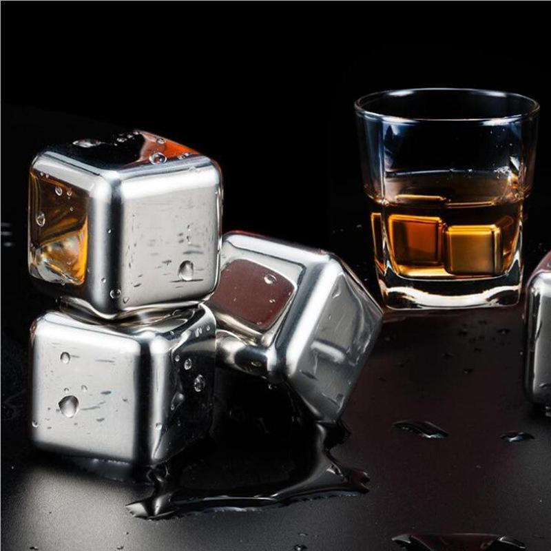 Round Square Whiskey pedra com Clip Wine Bar Acessório Chiller encaixotado 304 aço inoxidável Ice Cube metal bebida refrigerador Ice Cube VT0353
