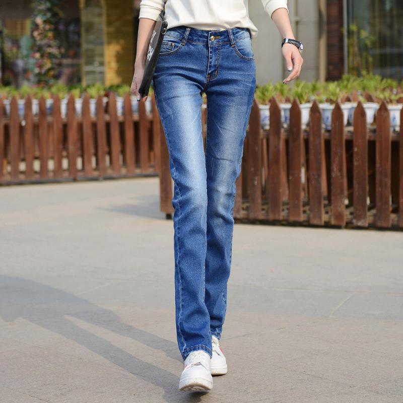 Jeans para mujeres Mom Jeans 2019 nueva mujer estiramiento de la manera Mujer Washed Denim Mujer flacos de las rectas Azul Negro