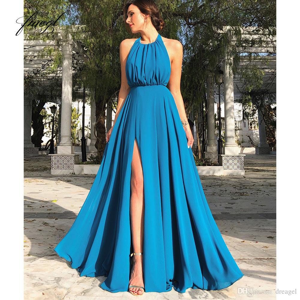 Großhandel Fmogl 18 A Linie Blau Abendkleid Chiffon Neckholder Backless  Sexy Charmy Maßgeschneiderte Party Abendkleid Von Dreagel, 18,18 € Auf