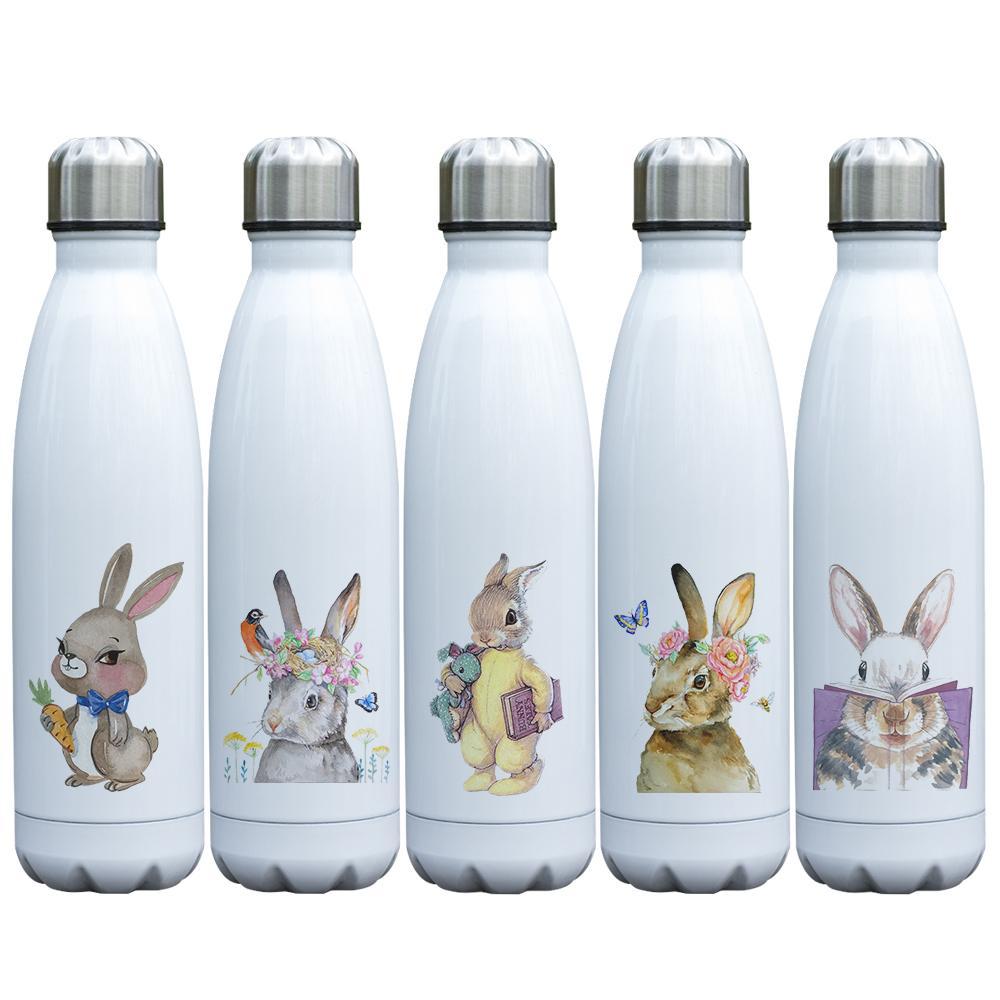 لطيف محبوب أرنب الطباعة فراغ الكأس معزول الفولاذ المقاوم للصدأ الأرنب الترمس جدران مزدوجة زجاجة مع موضوع الأرنب للأطفال