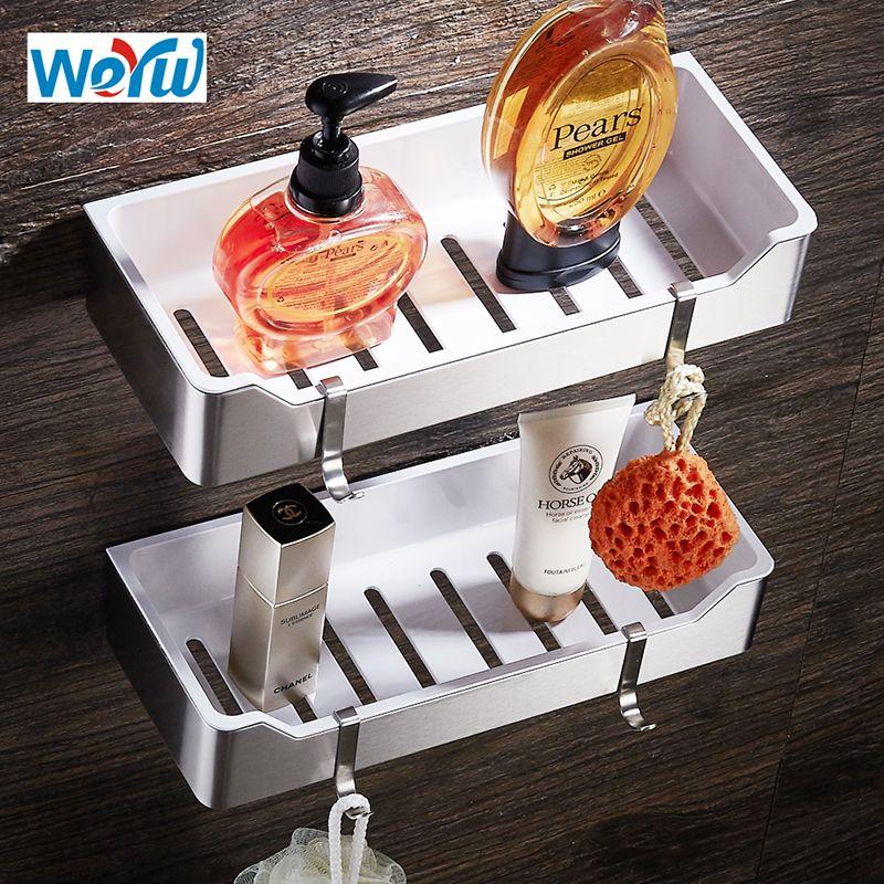 WEYUU Banyo Rafları Paslanmaz Çelik + ABS Plastik Duvar Dağı Şampuan Sabun Kozmetik Depolama Örgütü Tel çekme