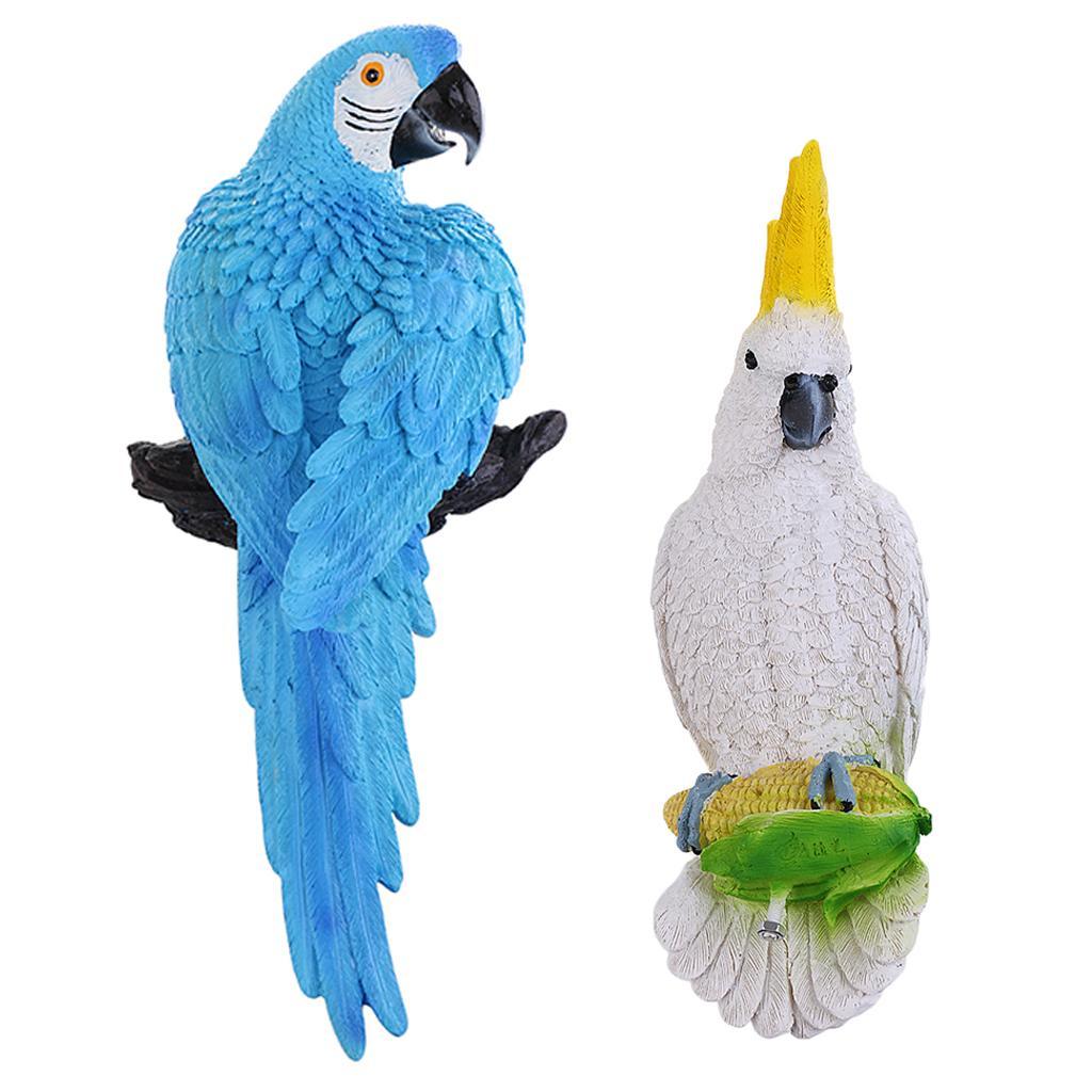 Blau + Weiß Parrot Statue Skulptur Lawn Yard Garten statuarisch Dekoration