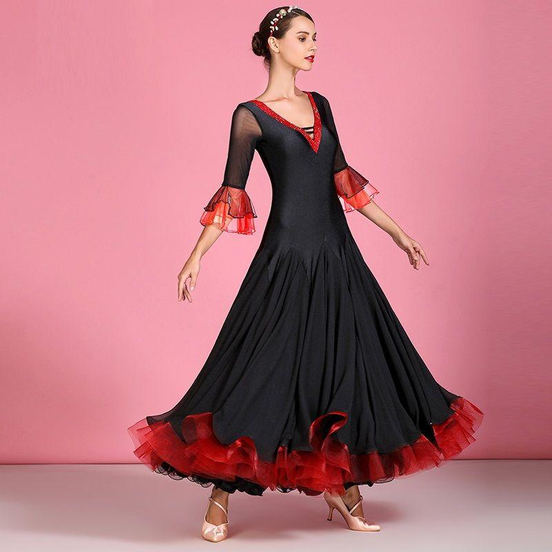 donne concorrenza della sala da ballo Tango Nero costumi danza spagnola donne vestito da ballo di ballo di flamenco vestito frangia maniche corte con scollo a V