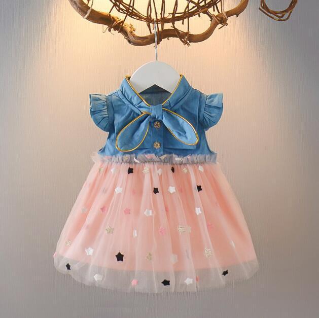 A16 bir yaşında bebek bebek etek prenses pamuk yaz uçan kollu yıldız iplik etek kız kovboy yenidoğan elbise çocuk 2020