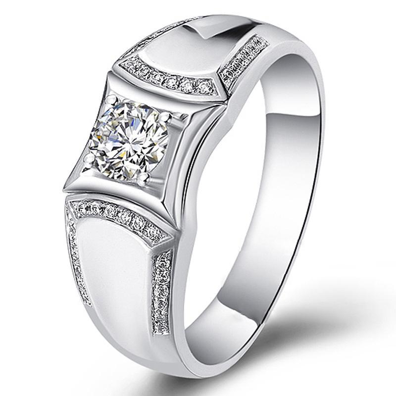 1 карат 18K Белое золото Moissanite алмаз Luxury Anniversary обручальное кольцо Круглый Классический Мужчины Свадеб кольцо Мужчины VVS S200117
