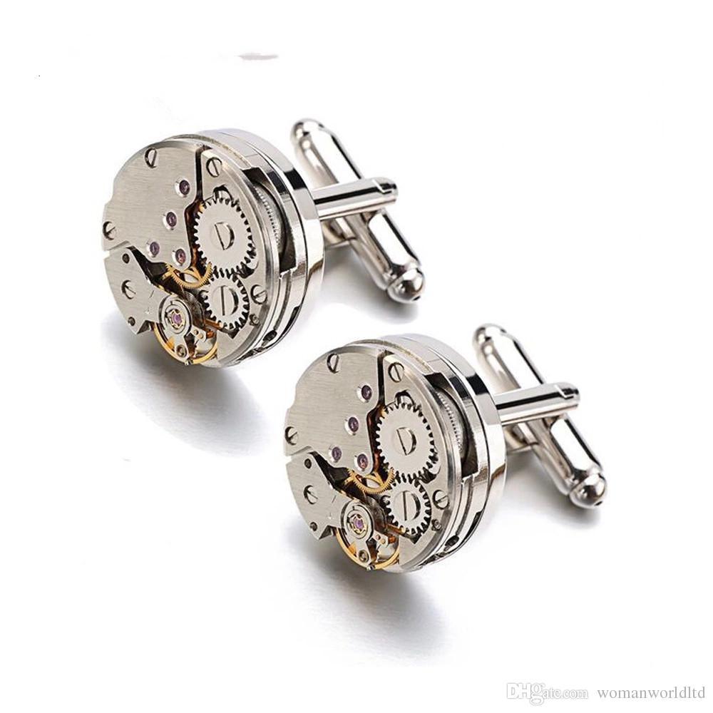 حار ووتش حركة أزرار أكمام ل غير المنقولة الفولاذ المقاوم للصدأ steampunk والعتاد آلية آلية الكفة روابط للرجال relojes gemelos