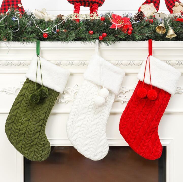 Laine à tricoter Bas de Noël Noël Arbre Ornement Santa Candy Sac Cadeau Tricot Chaussettes Prop Chaussettes Partie Pendentif Décorations GGA2503