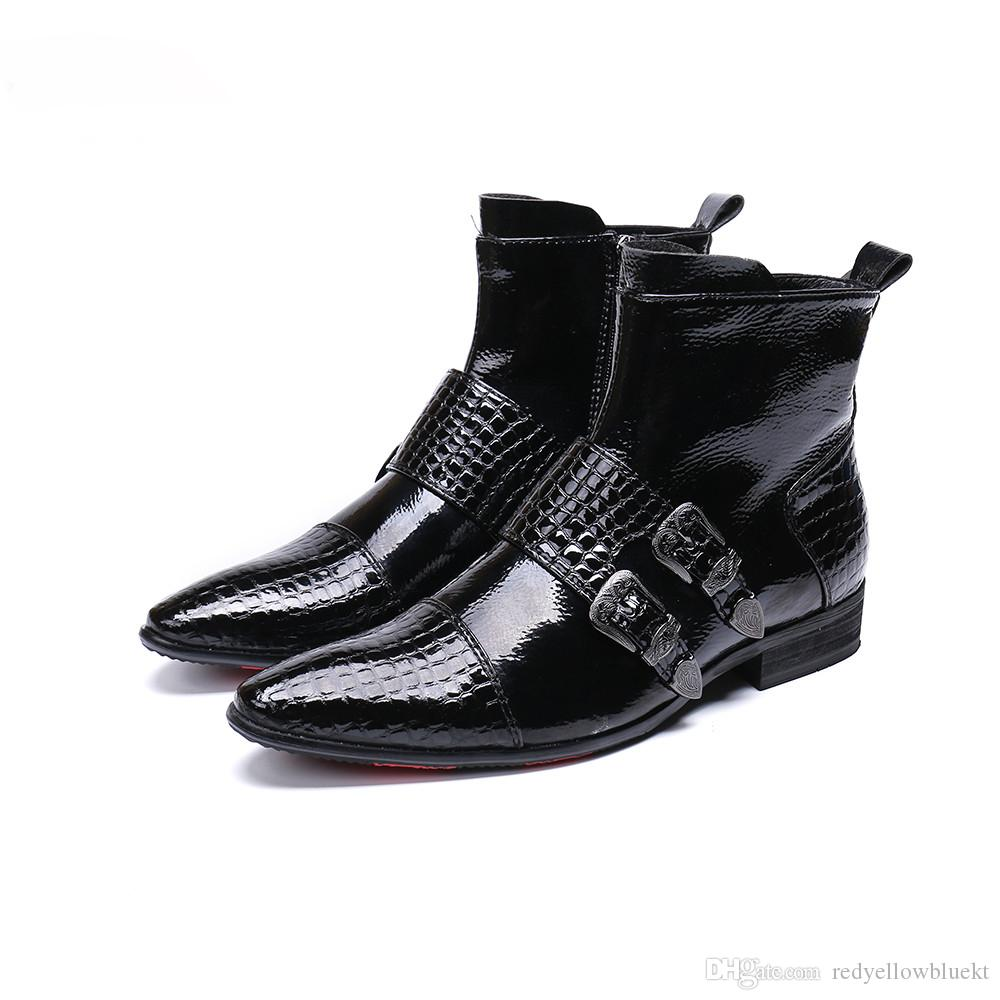 Christia Bella New Men Shoes Boots Western Cowboy Ankle Boots Men Pointed Buckles Black Leather Botas Hombre Runway Party Boots