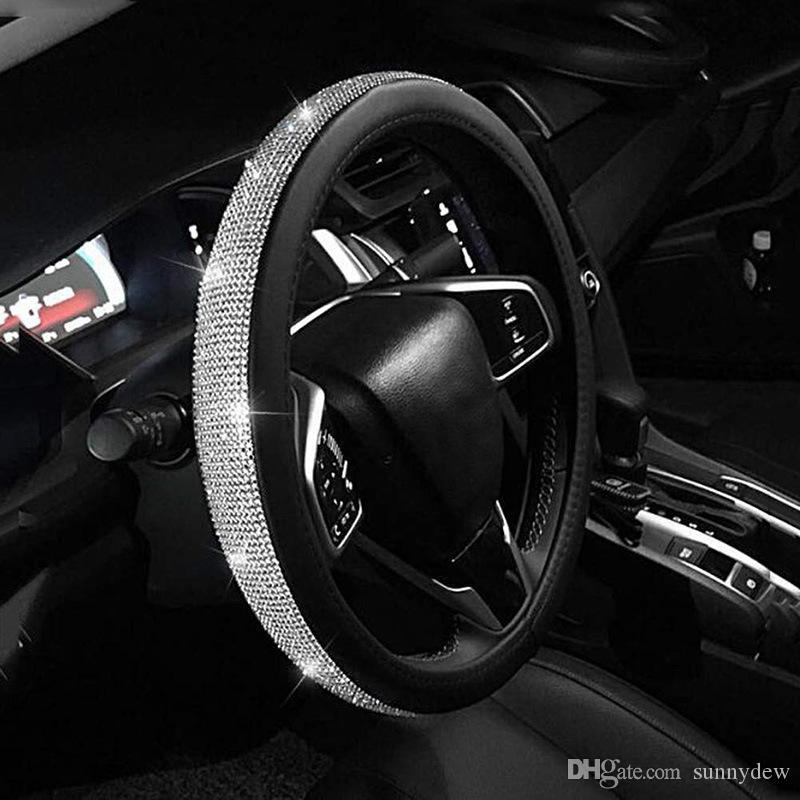 Volant de voiture Couvre Blinging Strass Style élégant Cuisson Durable Cuir 15 pouces Handcraft Cars Accessoires d'intérieur