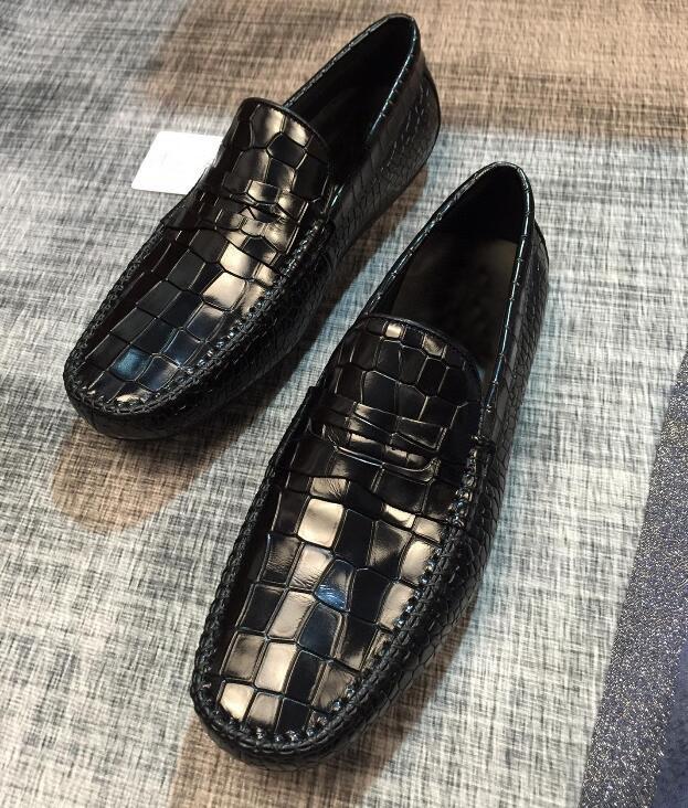 Мода Новые мужские Мокасины плиссе вскользь Бизнес Корова кожа Gentleman платье Drive Wedding Walk обувь Размер 38-45