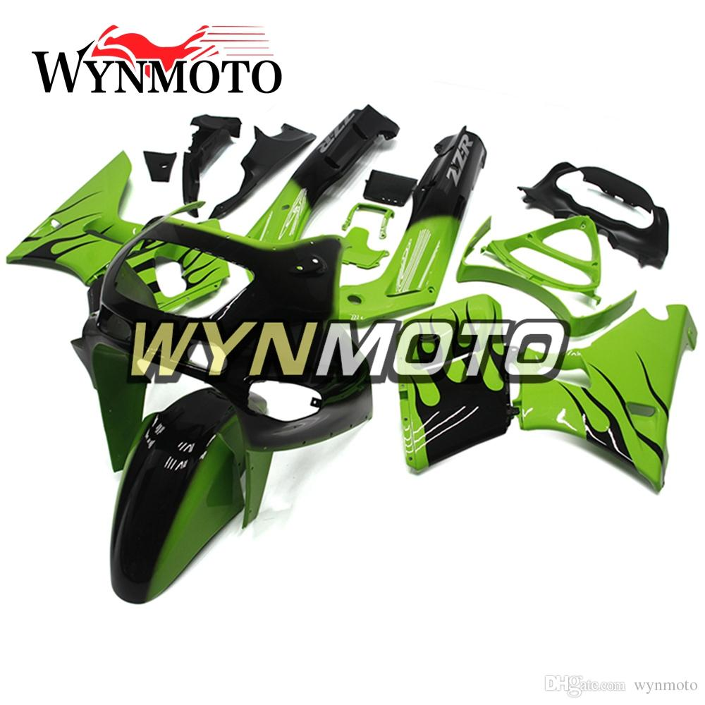 ABS Plastic Injection Motorcycle Full Fairings For Kawasaki ZZR400 1993 - 1997 NINJA ZZR-400 93 94 95 96 97 Bodywork Green with Black Flames