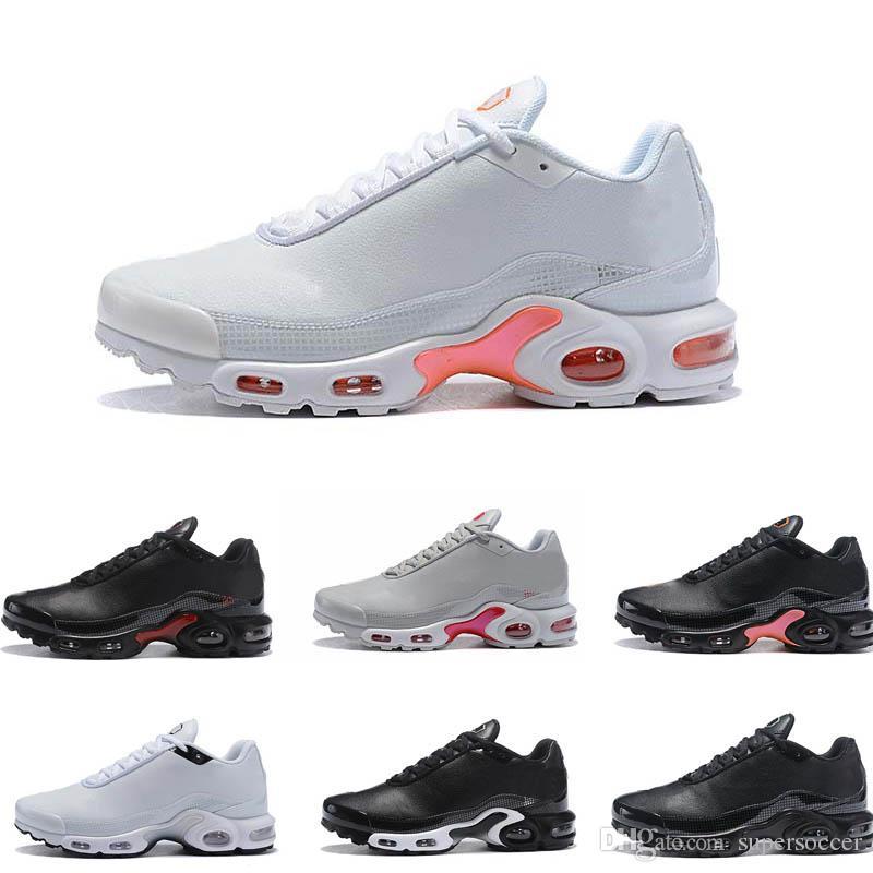 Novos Sapatos De Couro Tn Preto Branco Laranja Tênis Ao Ar Livre Sapatos TN Mulheres Sapatilhas Dos Homens Ao Ar Livre Tênis 36-46