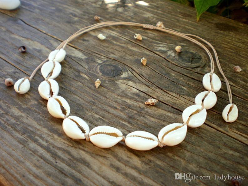 Natural Shell Necklace Handmade Hawaii Wakiki Beach Choker Adjustable seashell jewelry Rope Chain for Women Girls