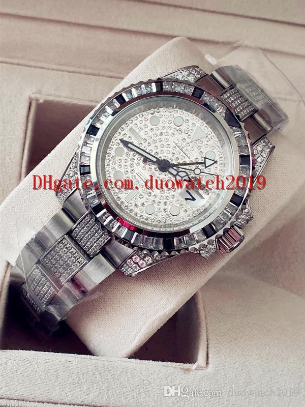 Venta de alta calidad Proveedor de fábrica Reloj de pulsera para hombre Reloj de pulsera de 40 mm GMT Diamante blanco 116759 RELOJ CHES Movimiento automático mecánico Foldin