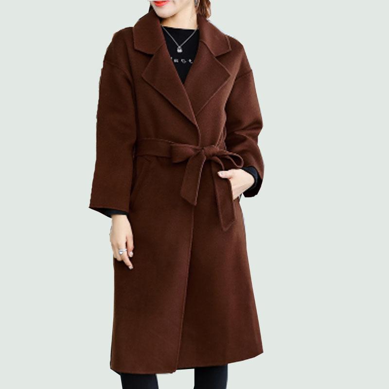 2019 plus size 4XL good quality wool coat female long woolen belt loose warm coat spring autumn fall Robe Outerwear Winter New