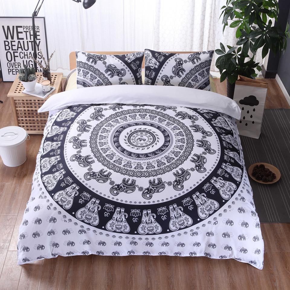 Богемия печатные сверхтонкие волокна пододеяльник устанавливает высокое качество домашнего постельного белья 2 / 3шт черный постельное белье одеяло охватывает 200x200 размер